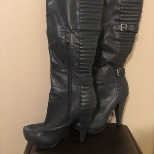 Shoes - Navy thigh high boots